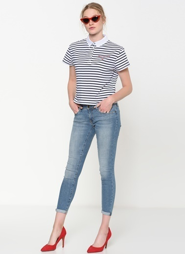 Mavi Çizgili Tişört Beyaz